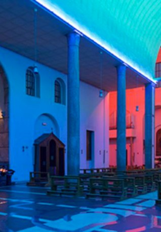 Dan Flavin, Untitled, 1997. Permanent installation at Santa Maria in Chiesa Rossa, Milan. Photo: Roberto Marossi