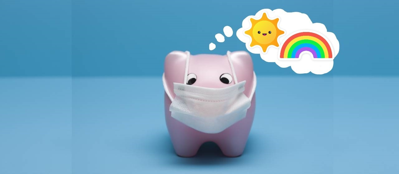toy pig with surgical mask thinks positive